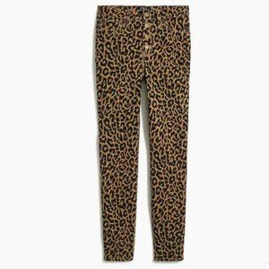 J. Crew High Rise Skinny Jean Button Fly Leopard S